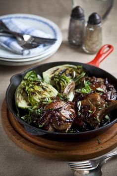 Maple Pork Chops With Griddled Baby Gem Lettuce | Liven up a plain old pork chop with this sweet & sticky glaze. | Recipe by Donal Skehan