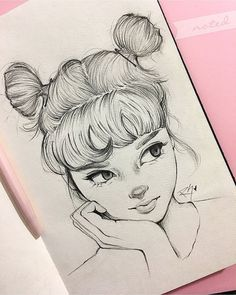 ▷ 1001 + ideas and inspirations for pictures to draw-▷ 1001 + Ideen und Inspirationen für Bilder zum Zeichnen human drawing, girl with big eyes and updo, two buns - Realistic Pencil Drawings, Cool Art Drawings, Pencil Art Drawings, Easy Drawings, Cute Drawings Of People, Sketches Of People, Drawing People, Simple Tumblr Drawings, Drawings Of Girls