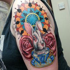 Alice In Wonderland White Rabbit And Rose Tattoos On Arm White Rabbit Tattoo, Rabbit Tattoos, Rose Tattoo On Arm, Rose Tattoos, Tattoo Designs, Tattoo Ideas, Disney Tattoos, Tattoo Studio, Picture Tattoos