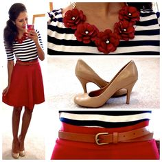 Recreate: Boden shirt, red uk skirt, pearls instead of red necklace. Nude pumps.