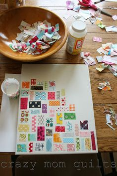 ticker tape on canvas - crazy mom quilts