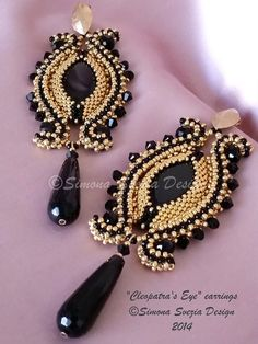 Tutorial CLEOPATRA'S EYE earrings / orecchini por PerlineeBijoux