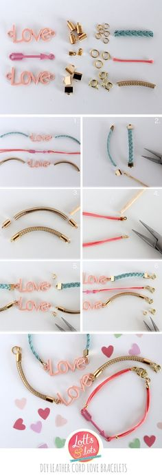 DIY - leather cord love bracelet Valentines inspired jewellery making
