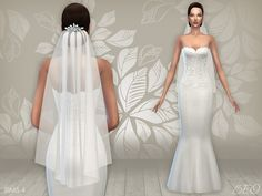 Wedding dress 02 and veil for The Sims 4 by BEO
