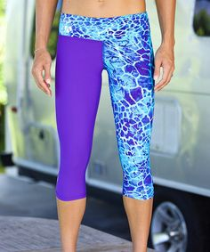 Loving this Blue & Purple Mahea Capri Leggings on #zulily! #zulilyfinds