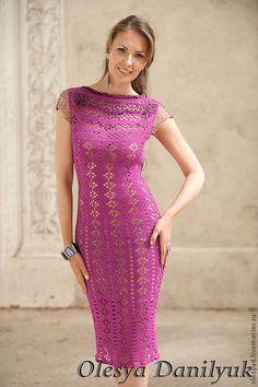 Купить Вечернее платье-футляр - фуксия, однотонный, нарядное платье, ажурное платье, авторская работа