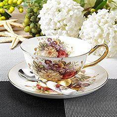 Touch Life, set di tazze da tè e caffè in porcellana tenera, tazza da caffè con piattino, piccoli fiori bianchi e rossi, Porcellana, Set of 1, Set di 1: Amazon.it: Casa e cucina