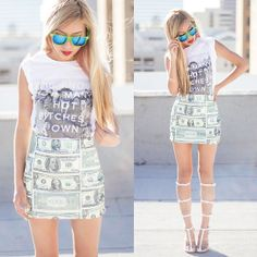 Omighty Us Dollar Skirt, Untitled & Co  Hot Bitches Tee, Zerouv Sunnies, Jeffrey Campbell Lavish Caged Sandals