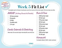 The Wedding Dress Challenge Phase 2: Week 5 Workout Fit List