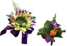 2pc set Wrist corsage and Boutonniere(BCset-31) shades of natural green with purple touch Sunflower and Lavender accents