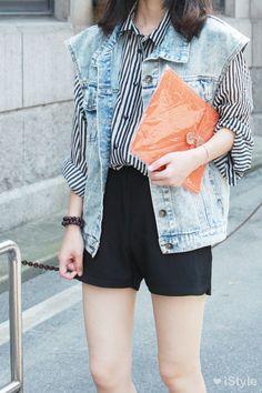 Street Style | Black Stripe with Denim Waistcoat