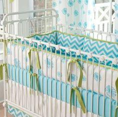 Aqua and green bedding