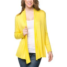 Magic Fit Yellow Classic Open Cardigan ($12) ❤ liked on Polyvore featuring tops, cardigans, long open front cardigan, drape front cardigan, long tops, layering cardigans and yellow top