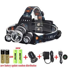 Mifine Waterproof LED Headlamp Headlight,super Bright 4 Modes 3000lm Xm-l XML T6 Led,waterproof for Outdoor Sports Hiking Camping Riding Fishing Hunting