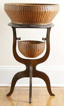 This 1890 sewing stand with Nantucket baskets, 35 x overall, has a Courcier & Wilkins and a Wayne Pratt provenance Old Baskets, Sewing Baskets, Wicker Baskets, Bountiful Baskets, Nantucket Baskets, Sisal, Vintage Sewing Notions, Sewing Box, Sewing Tools