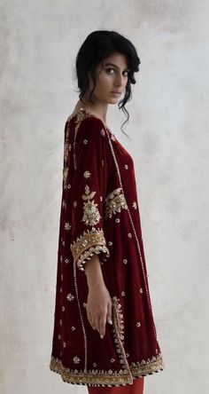 Shadi Dresses, Pakistani Formal Dresses, Pakistani Dress Design, Pakistani Outfits, Indian Outfits, Velvet Dress Designs, Moda Indiana, Pakistani Couture, Desi Clothes