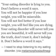 Lies your eating disorder tells you