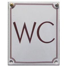 WC vit botten/röd text 9 x 11 cm - 410SEK : Gyllenhaks Byggnadsvård AB, Kvalitetsvaror för hus och människor