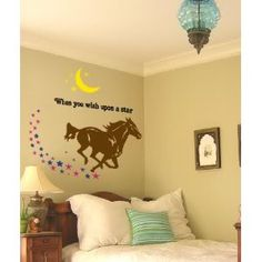 horse decal quote wall sticker wall words pony decal mustang wall decal star decal moon decal girls bedroom decor 40 x 41 inches - Horse Bedroom Ideas
