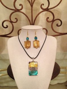 Jewelry Set /Gold /Green/ 24.99 / by AnkesUniqueTreasures on Etsy