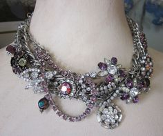 Statement Vintage Rhinestone Necklace Purple Pink Bib Collar Chain Silver Dramatic Upcycled Repurposed Jewelry OOAK JryenDesigns. $145.00, via Etsy.