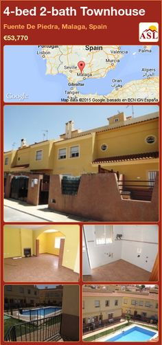 Townhouse for Sale in Fuente De Piedra, Malaga, Spain with 4 bedrooms, 2 bathrooms - A Spanish Life Murcia, Valencia, Malaga Spain, Back Patio, Town Hall, Townhouse, Terrace, Swimming Pools, Golf Courses