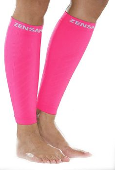 Zensah Neon Pink Compression Leg Sleeves