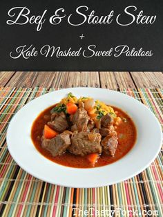 Beef and Stout Stew with Kale Mashed Sweet Potatoes is a quick & easy meal on thetastyfork.com. Beef Stew recipe from Cooking Light.