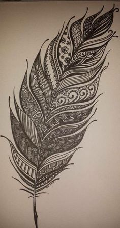 Zentangle feather for BuJo mood tracker Boho Tattoos, Feather Tattoos, Cute Tattoos, Body Art Tattoos, Basic Tattoos, Feather Tattoo Design, Gorgeous Tattoos, Tatoos, Mandalas Drawing