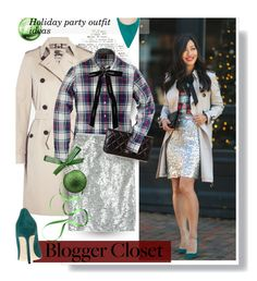 """Blogger Style: Plaid & Bow & Sequins"" by hamaly ❤ liked on Polyvore featuring Burberry, J.Crew, Chanel, StreetStyle, BloggerStyle, Sequins, plaidshirt, waystowear, outfitideas and holidaystyle"