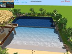mock-up for a pool that gives the best of both worlds - one end has a beach entry and reaches a depth of 4 feet, with a raised cabana you can swim under; the other end is 10 feet deep with a diving board, slide, waterfalls, and grottos