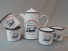 Vintage Enamel, Enamelware Cutty Sark Clipper Ship Coffee Set - Pot and Four Cups by SlyfieldandSime on Etsy