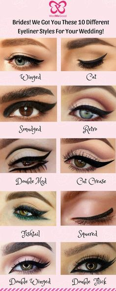 Be it a Winged or a Cat Eyeliner! We Got You These 10 Different Eyeliner Styles for Your Wedding! - Be it a Winged or a Cat Eyeliner! We Got You These 10 Different Eyeliner Styles for Your Wedding! Eye Makeup Steps, Makeup Eye Looks, Eye Makeup Art, Smokey Eye Makeup, Eyeshadow Makeup, Eyebrow Makeup, Emo Makeup, Makeup Names, Bridal Eye Makeup