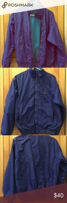 Vintage 80's Patagonia Jacket with fleece lining This Nylon bomber style jacket has had only one owner and in great condition! Blue nylon shell with a turquoise fleece lining. In a non-smoking and animal free home. Size says 12 but will fit a small or snug on a medium! Patagonia Jackets & Coats Puffers