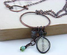 Copper Hoop Charm Labradorite Gemstone Bead by EnchantedAlchemy, $24.00