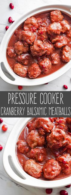 These Pressure Cooker Cranberry Balsamic Meatballs are the perfect appetizer for holiday entertaining. Pop one into your mouth and taste an explosion of cranberry, rosemary, and balsamic vinegar packed into one savory bite.