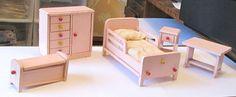 OLD VINTAGE HTF 1938 PINK CHILD'S STROMBECKER DOLLHOUSE BEDROOM FURNITURE LOT #STROMBECKER