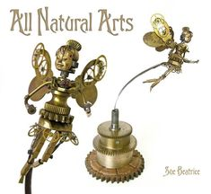 Watch Parts and Steampunk Jewelry and Sculptures by Sue Beatrice. All Natural Arts. Steampunk Kunst, Style Steampunk, Steampunk Cosplay, Steampunk Diy, Steampunk Fashion, Gothic Jewelry, Jewelry Art, Jewelry Necklaces, Miniatur Motor