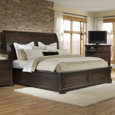 Crystal Ridge Wood Sleigh Storage Bed in Warm Chestnut Brown by Emerald Home  -- 88x87.25L, -- $1250, has matching furniture