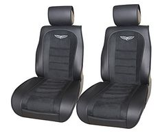 Luxury Suede with Leather Insert 2 Front Car Seat Cover Cushions Lowback Universal 803 Black ** Visit the image link more details. (This is an affiliate link and I receive a commission for the sales)