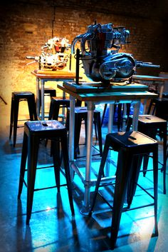 Triumph Engines #Motorcycle #Event #Furniture #Ideas #Inspiration #Industrial #Table #Metal #Stools #Reclaimed #Wood #Pallet #Pipes #Decor #Design #Industrial #Hire #London #BikeShed