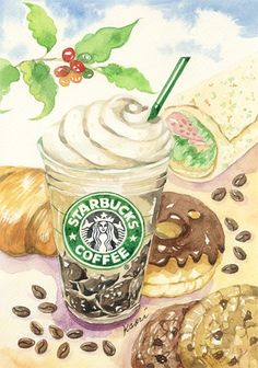 Starbucks- the colors of the foods go well together Starbucks Art, Starbucks Coffee, Starbucks Wallpaper, Anime Coffee, Café Chocolate, Food Sketch, Food Painting, Coffee Painting, Watercolor Food