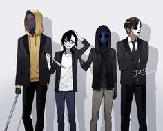 Creepypasta ^^^ I'd be scared to stand next to Hoodie HES SO TALL...like Jensen..