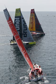 June The SCA In-Port Race in Lorient; Abu Dhabi Ocean Racing, Team Brunel and Dongfeng Race Team Ainhoa Sanchez / Volvo Ocean Race Volvo Ocean Race, Olympic Champion, Racing Team, Abu Dhabi, Sailboat, Continents, A Team, Olympics, Sailing