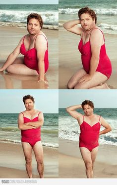 Zach Galifianakis shows you can be curvy and proud.I look just like Zach Galifianakis in a swimsuit. Except I have bigger boobs and less body hair. And he's more tan. Haha Funny, Hilarious, Lol, Funny Stuff, Fun Funny, Funny Humor, Funny Shit, Funny Things, I Love To Laugh