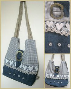 denim purse with lace