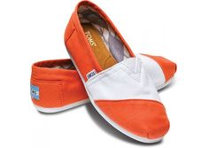 White and Orange Women's Classics Toms..yeah, Go Vols!