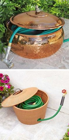 Keep your hose hidden in a hose pot! ~ 17 Impressive Curb Appeal Ideas (cheap and easy!) - I've been wanting hide the long watering hose in our backyard - always exposed - nice idea! Outdoor Projects, Garden Projects, Outdoor Decor, Garden Ideas, Jardin Decor, Ideias Diy, Curb Appeal, Outdoor Gardens, Garden Design