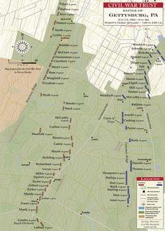 Gettysburg - Pickett's Charge, Artillery Placements Gettysburg Map, Gettysburg Pennsylvania, Gettysburg Battlefield, American Civil War, American History, Pickett's Charge, Gettysburg National Military Park, Civil War Books, Military Tactics
