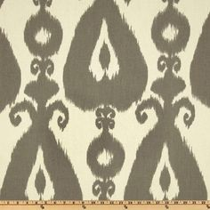 Screen printed on cotton this medium weight fabric is very versatile. This fabric is perfect for window treatments (draperies, valances, curtains, and swags), bed skirts, duvet covers, pillow shams, accent pillows, tote bags, aprons, slipcovers and upholstery. Colors include grey on an ivory background.